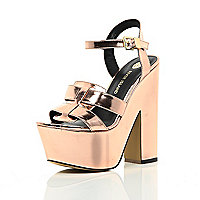 Rose gold metallic platform sandals