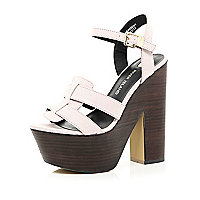 Light pink ankle strap platform sandals