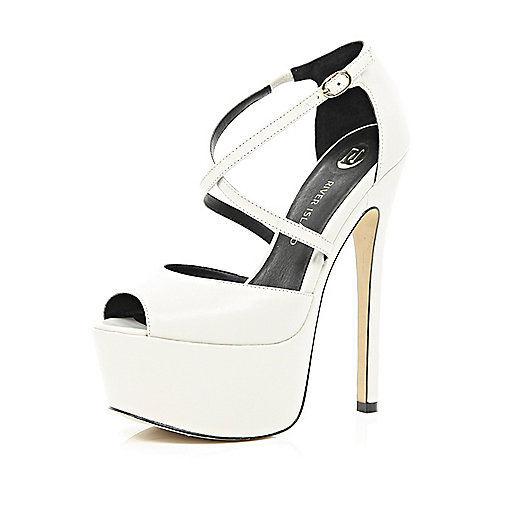 White cross over strap peep toe platforms