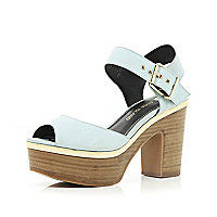 Light blue peep toe platform sandals