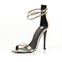 Gold double strap barely there sandals