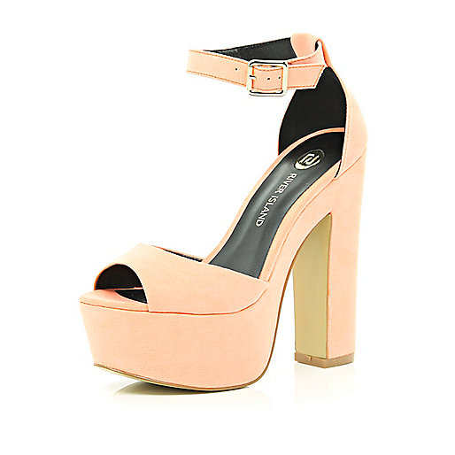 Light orange peep toe platform sandals