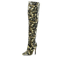 Khaki camo pointed stiletto knee high boots