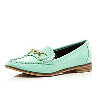 Light green patent snaffle trim loafers