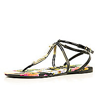 Black gem stone printed sole sandals