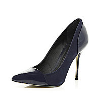 Navy toe cap pointed court shoes