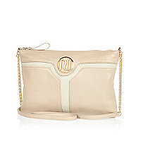 Beige cut out panel cross body bag