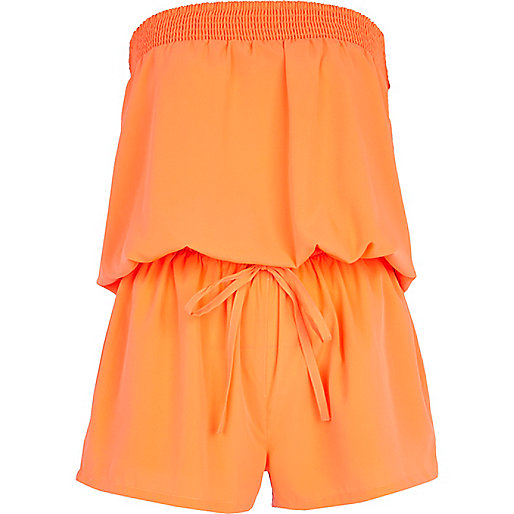 Bright coral bandeau waisted playsuit