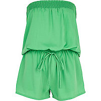 Green bandeau waisted playsuit