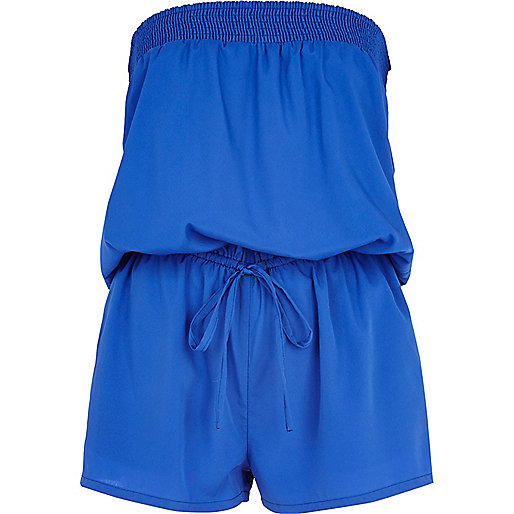Blue bandeau waisted playsuit