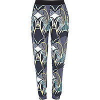 Black abstract print joggers