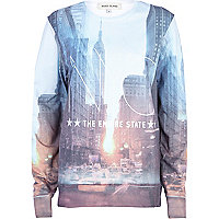 Blue NYC Empire State print sweatshirt