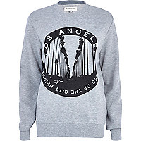 Grey LA circle print sweatshirt