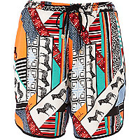 Orange Pacha abstract print board shorts