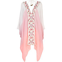 Pink Pacha colour block floral trim kaftan