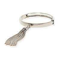 Silver tone slinky tassel bangle