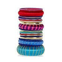 Multicoloured eclectic wrapped bracelet pack