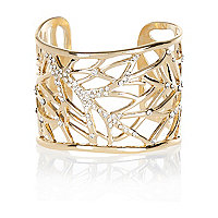 Gold tone cut out diamante cuff bracelet