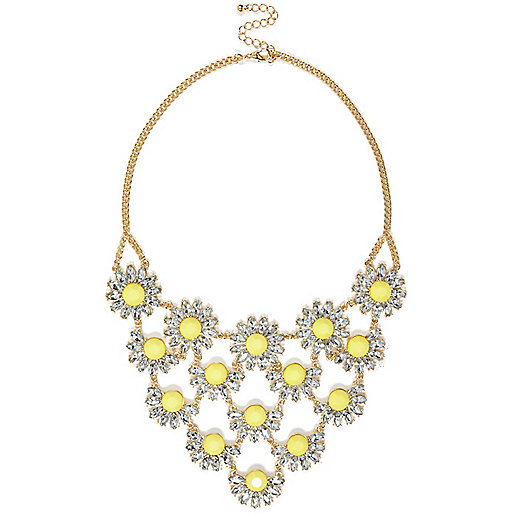 Yellow clustered daisy statement necklace
