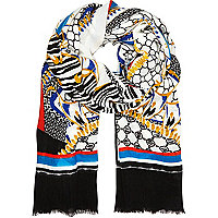 Cream geometric border print long scarf