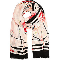 Light pink sliced floral print long scarf