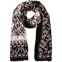 Cream floral heart print lightweight snood