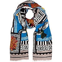 Blue bird stamp print lightweight scarf