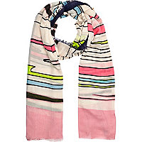 Multicoloured drawn stripe scarf