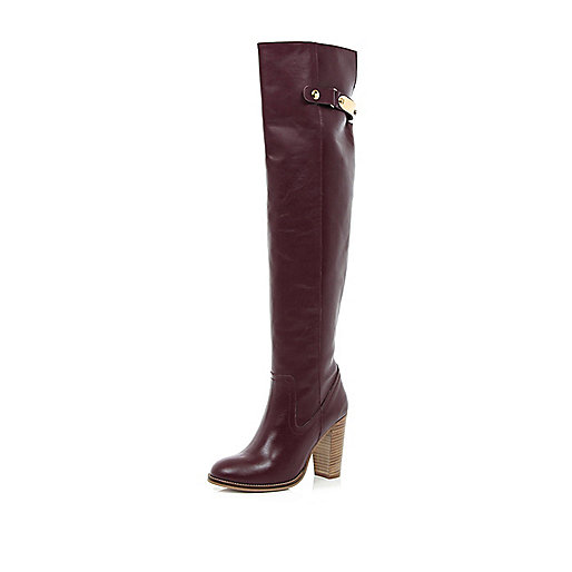 Dark red metal trim over the knee boots