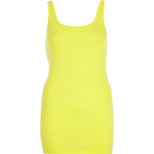 Yellow scoop neck longline vest