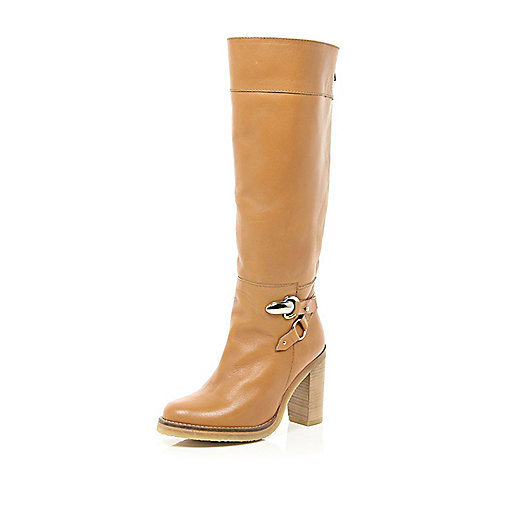 Tan block heel knee high boots