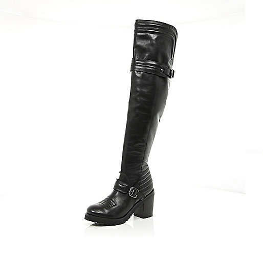 Black block heel quilted over the knee boots