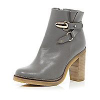 Grey strap detail block heel ankle boots