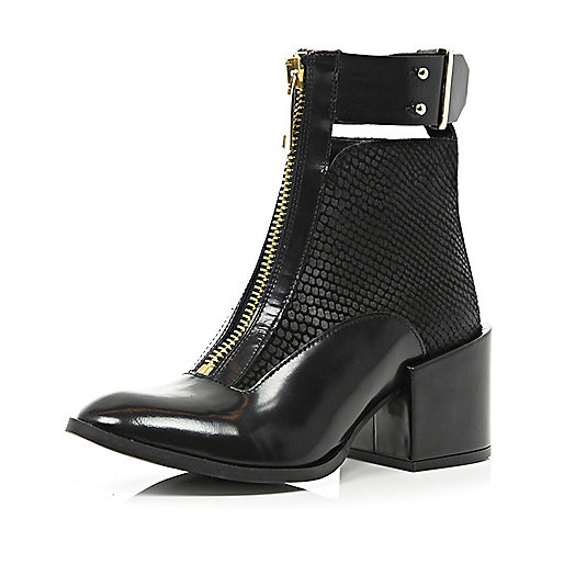 Black cut out block heel snake ankle boots