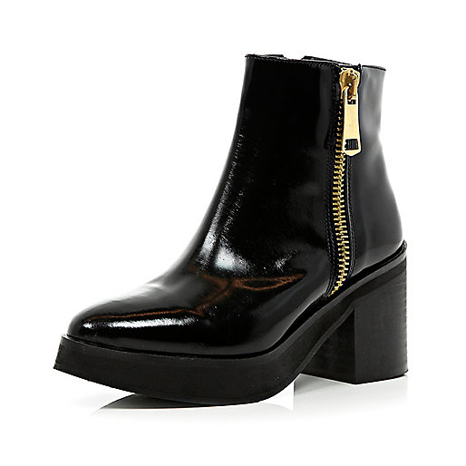 Black block heel pointed ankle boots