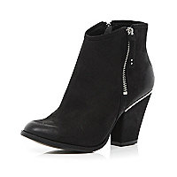 Black smart western ankle boots