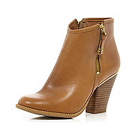 Tan smart western ankle boots