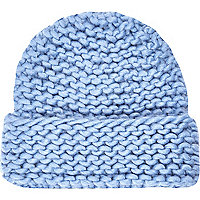 Blue super chunky knit beanie hat