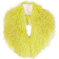 Bright yellow Mongolian fur collar