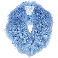 Blue Mongolian fur collar