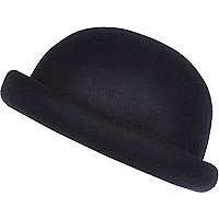 Navy blue rolled brim bowler hat