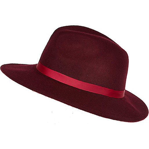 Dark red fedora hat