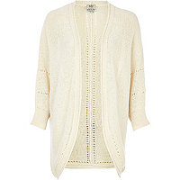Cream slub knit dolman cardigan