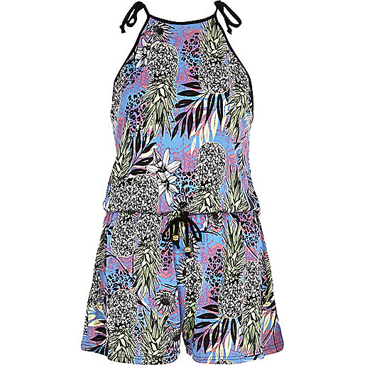 Blue tropical print playsuit