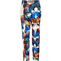 Blue splash print belted trousers