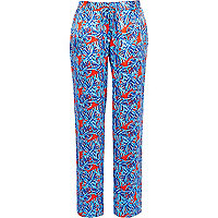Blue leaf print slouch trousers