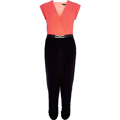 Pink two-tone wrap front belted jumpsuit