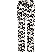 Black and cream geometric slouch trousers