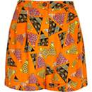 Orange retro print high waisted shorts