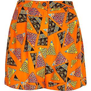 Orange retro print high waisted shorts